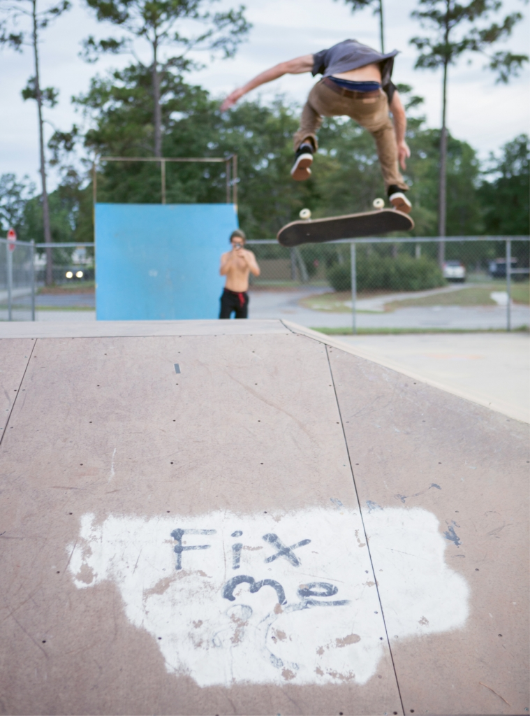 A plea for help painted on the pyramid transition. A Rebuild Matt Hughes committee is working with the city and the community to raise funds for an improved skate park.