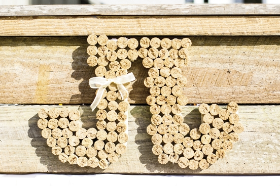 Wine corks were used to display the couple's initials.