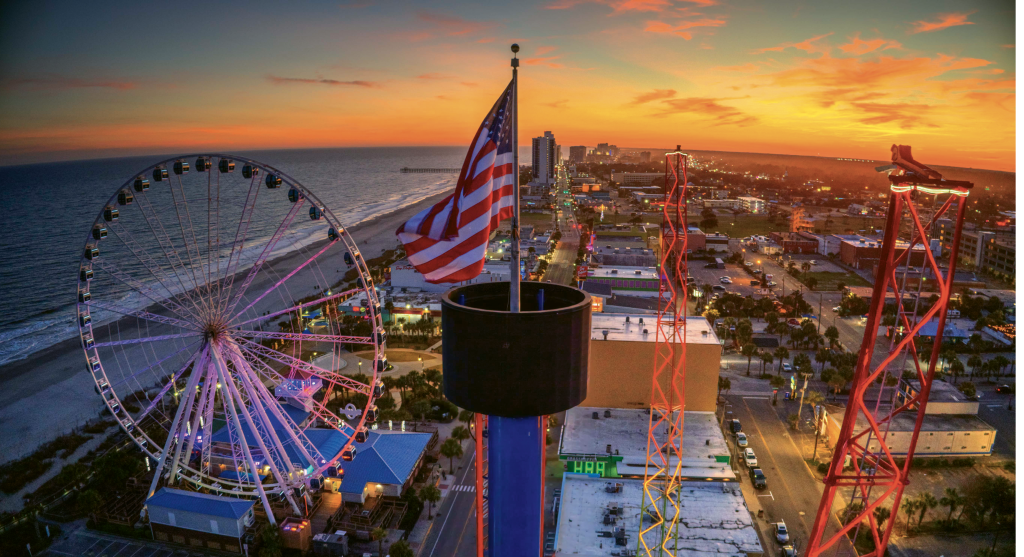 Old Glory Above the Strand - Robbie Bischoff - Downtown Myrtle Beach