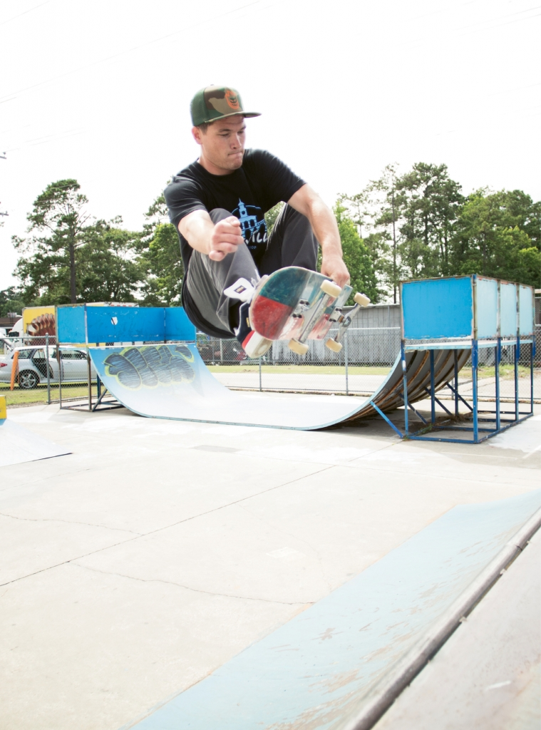 Hunter Sanders - Sanders, a new Daville team rider, soars with a big indy grab off the quarter-pipe.