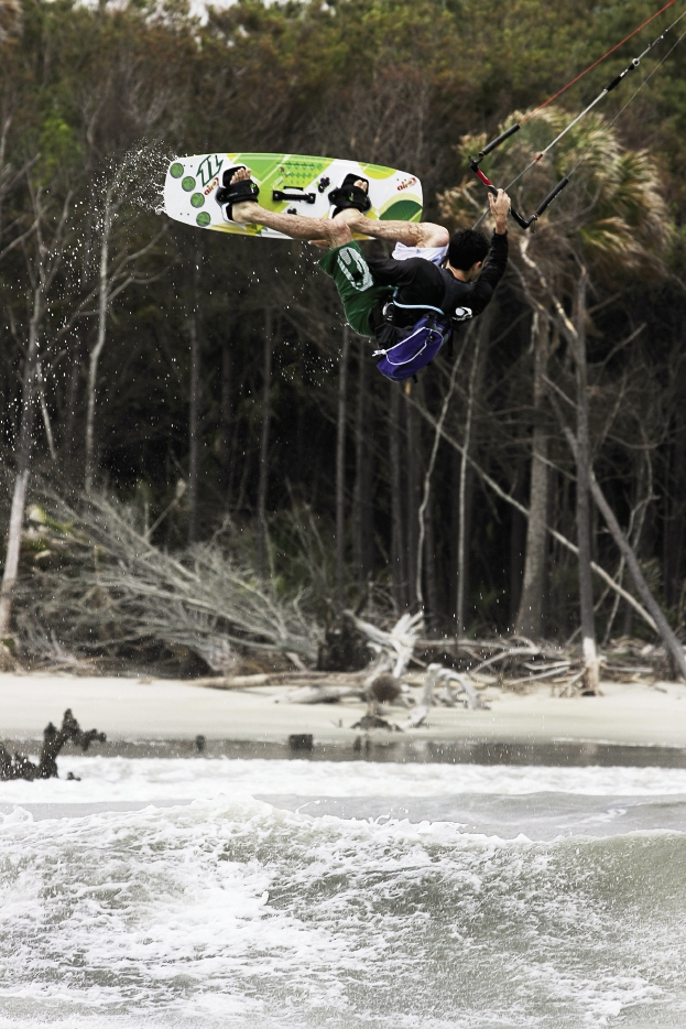 Dale Slear, once a competitive wakeboarder, uses all his skills to make tricks and big air look easy.