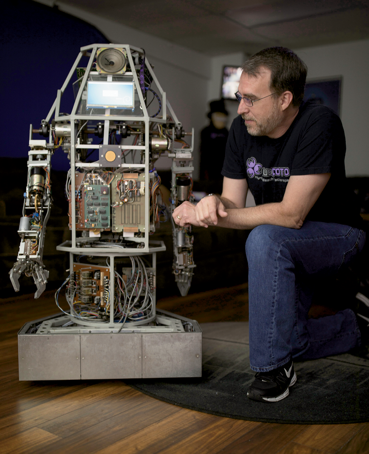Stewart with Raybot, a work-in-progress by one of Subproto's members since 1979.