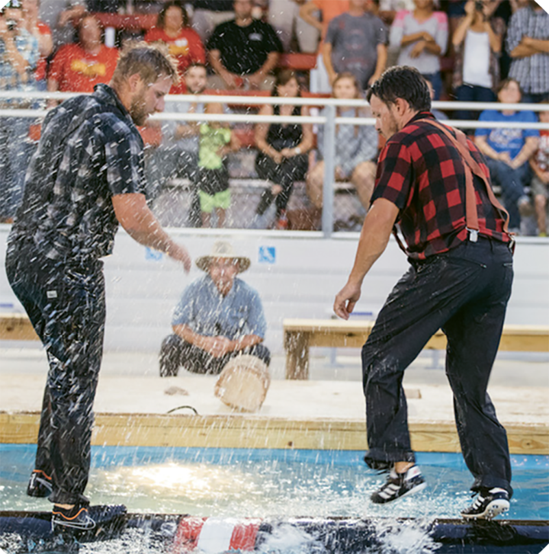Lumberjacks battle for points and bragging rights at Paula Deen's Lumberjack Feud.