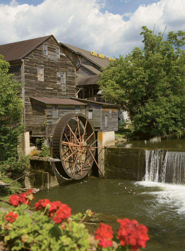 Old Mill historic area features a water-powered gristmill established in the early 1800s.