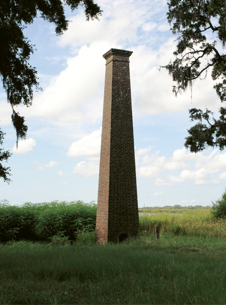 The Belle Isle Plantation Rice Chimney was built around 1830  and is on the National Register of Historic Places. If you look closely,  you can see still see the brickmaker's fingerprints from when the bricks were  removed from the mold.