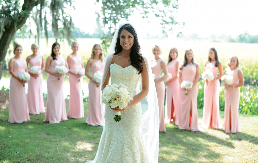 Southern Charm: Simple, elegant lace, pink and ivory reigned as Kathleen's color theme.