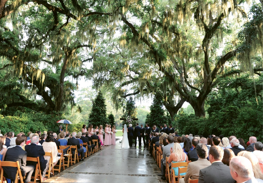 Sacred Garden: Kathleen's dream of an elegant Southern garden wedding came true. Rain clouds gave way to warm sun for this happy couple on their wedding day.
