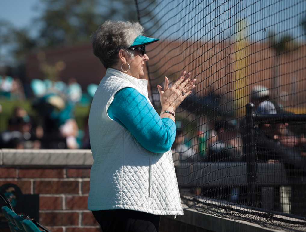 CCU fan Linda Vereen cheers on the Chants from the front row.