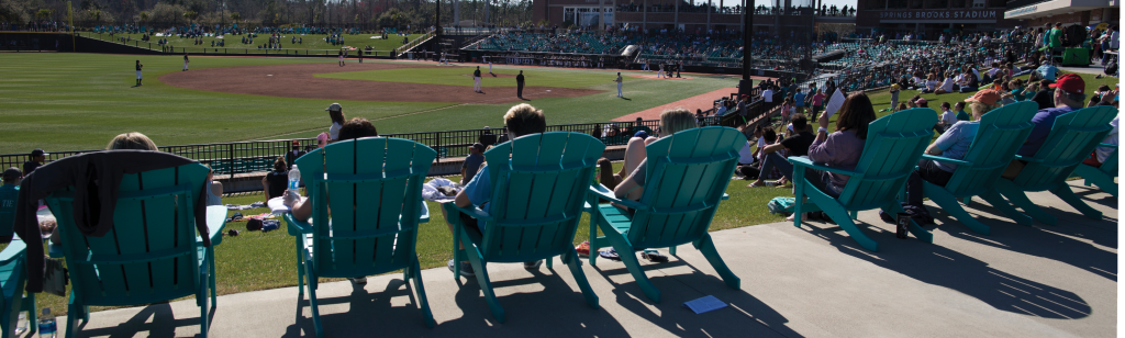 Fans enjoy a recent game from the Adirondack chairs behind left field.