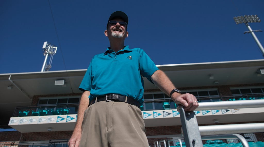 CCU fan Ed Smrdel wears his lucky golf shirt to a recent game against James Madison.