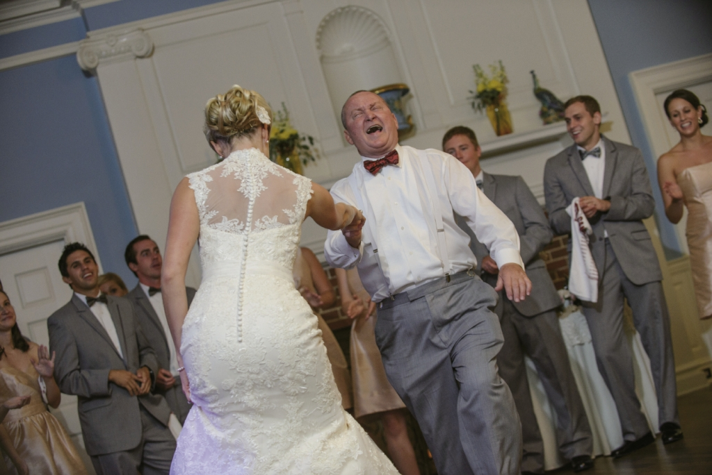 Let's Dance: Bride and groom cut a rug with reception revelry that included a towel-waving salute to their South Carolina Gamecocks.