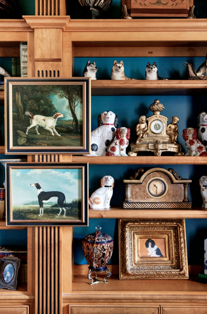 The McKenzie Home: Linda's years of professional dog training makes a statement in her collection of paintings, needlepoint pillows and ceramic knick knacks.