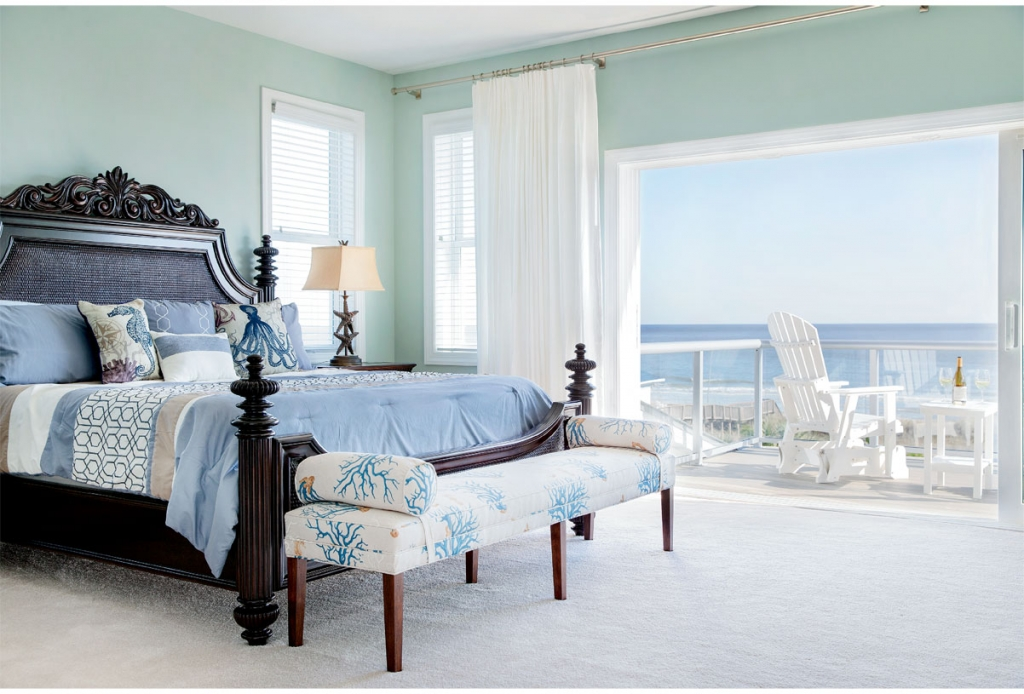 Beach Master: The Barkers' master bedroom offers a priceless bird's-eye view of the Atlantic Ocean.