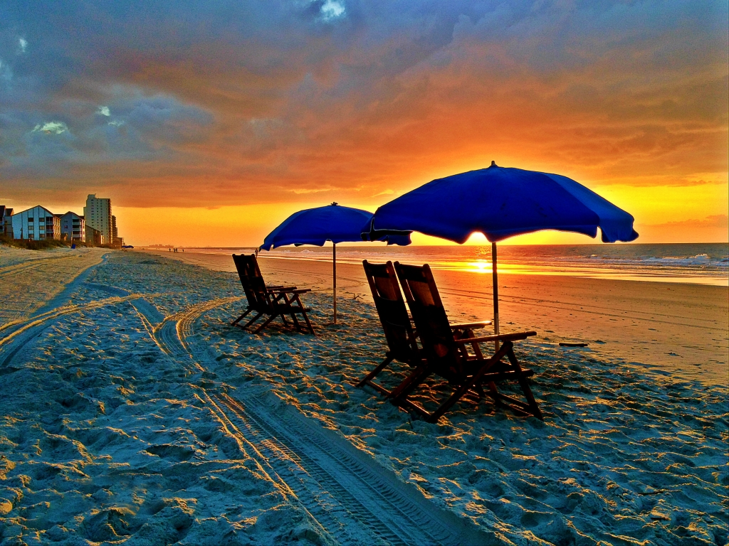 Chairs, Blue Umbrellas, Beach Sunrise, Photographer: Joey O'Connor, Where: Garden City