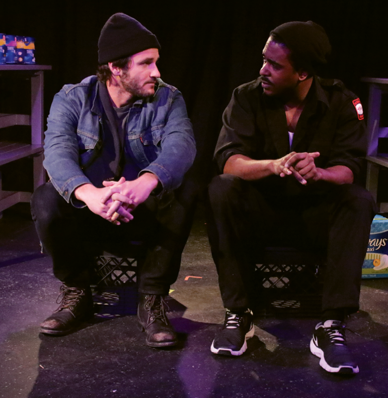 Kane and Khalil Muhammed on stage off-Broadway in Check-Out, a play produced by his non-profit theater group the Collective.