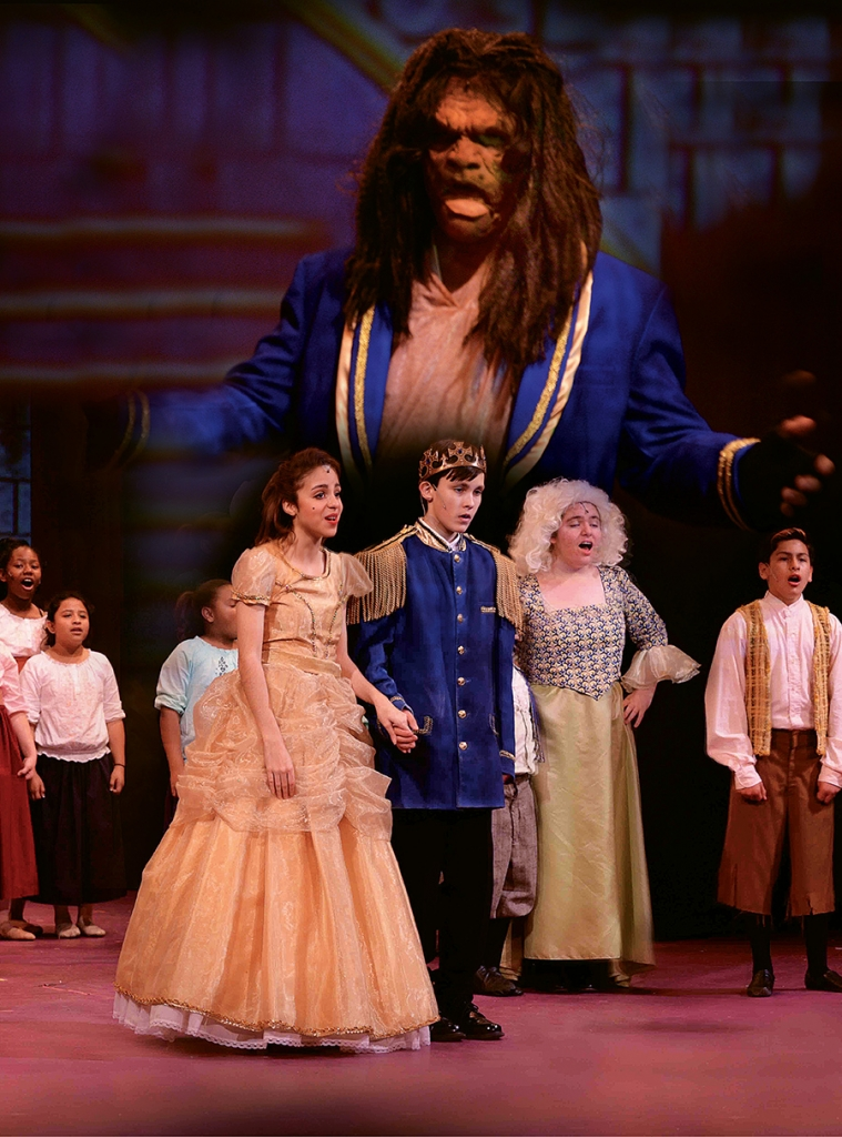 Beauty and the Beast JR actors from left to right are Reyna Papotto as Belle, Ben Burdick as Prince, Julianna Davis as Mrs. Potts, Diego Boatwright as LeFou and Brandon Davis as the Beast.