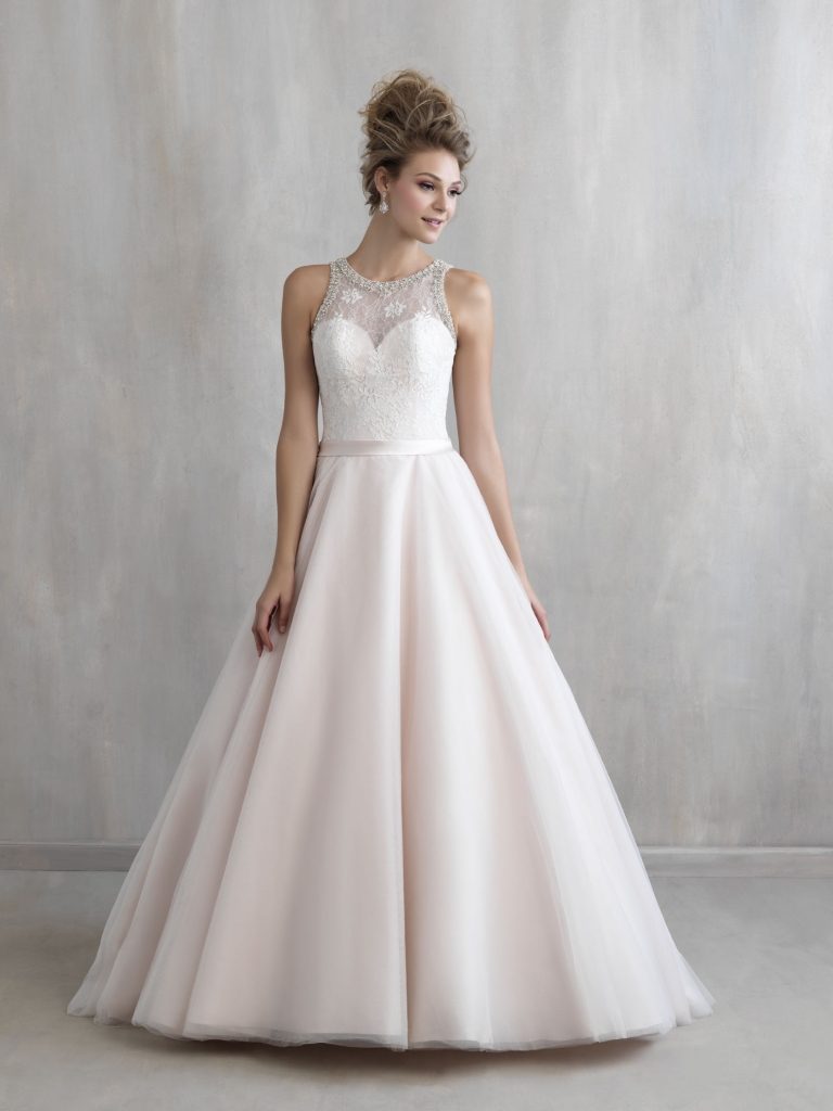 Curtsy credentials The first day of the rest of your life begins with this stunning Madison James ballgown featuring subtle crystal beading along the neckline and back as well as modern  lines and a classic silhouette.  Fancy Frocks, $1,510