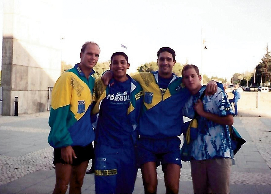 Silva, second from left, at the Latin Cup in Portugal in 1998, when he broke the Brazilian National Record in the 200M breast stroke. Pictured with Silva are Fernando Sherer, Gustavo Borges and Pedro Monteiro (Sherer and Borges are Olympic medalists).