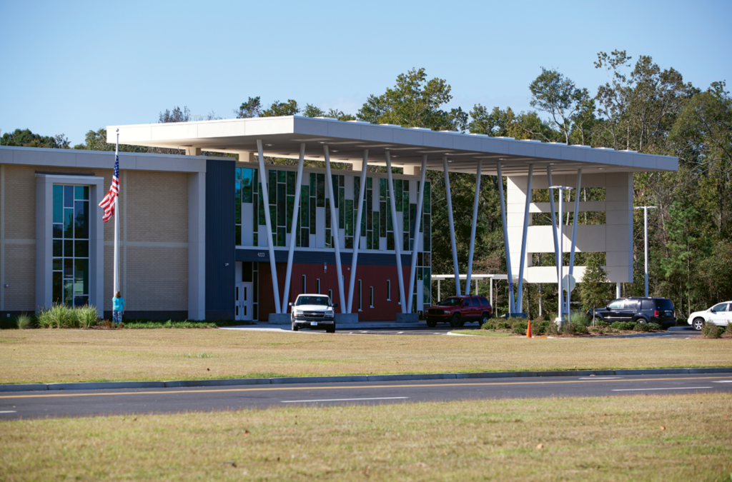 The entrance to Socastee Elementary. The school can accommodate up to 900 students and is designed with glass-walled classroom and open spaces.