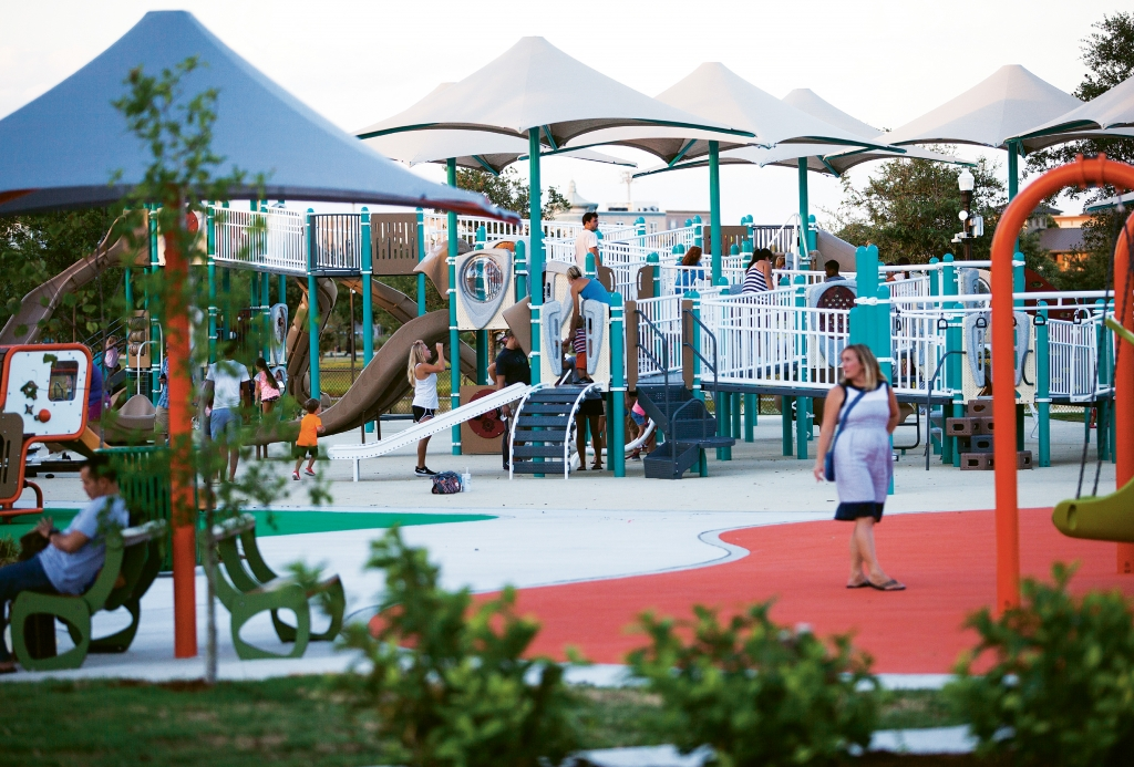 The ADA-approved enabling playground located within The Market Common is designed for able-bodied and special needs children and their families
