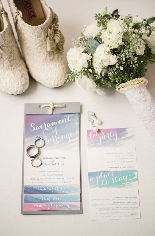 "The bride and groom designed and printed all of their wedding invitations and programs themselves, which embodied their artsy personalities. Designed by a jeweler in Italy, ""The Brandi Ring"" is one-of-a-kind."