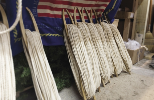 Strands of cotton rope ready to be woven into Pawleys Island hammocks.