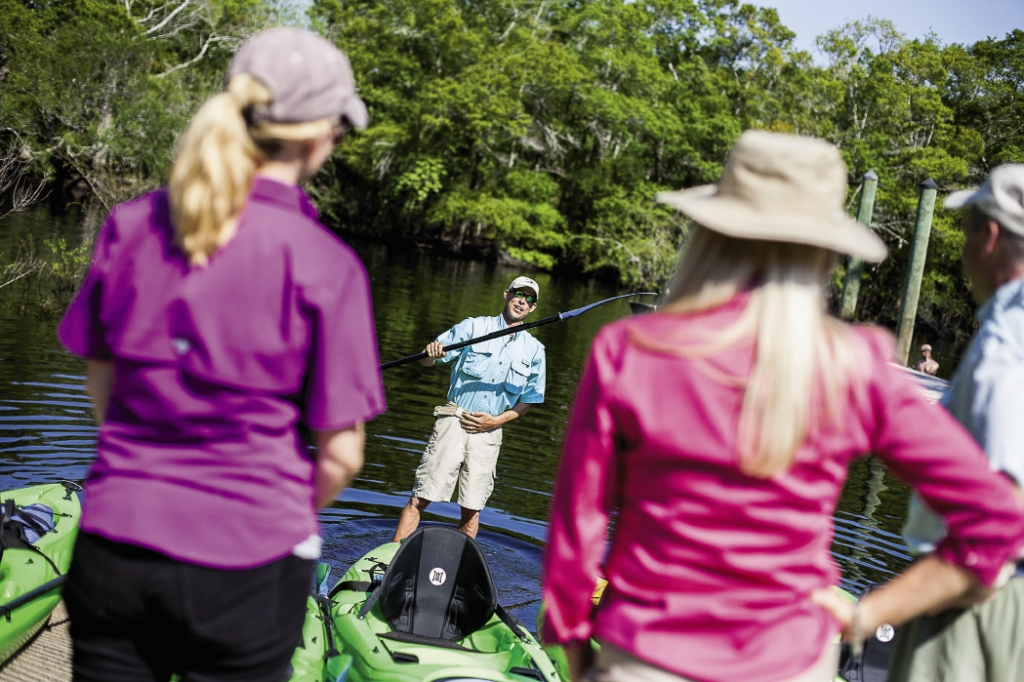 Justin Summerall of J&L Kayak Ecoventures gives instructions before starting the tour.