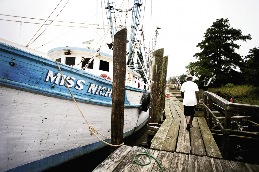 Hauling in the Day's Catches: Thirty miles south of Myrtle Beach in the port city of Georgetown, shrimp boats line the dock by the Independent Seafood Market.