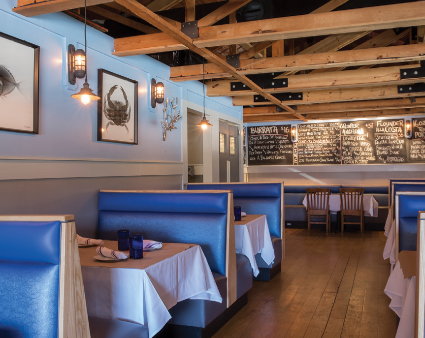 Dive In: With its dining room bathed in blue, Costa offers welcoming waters.