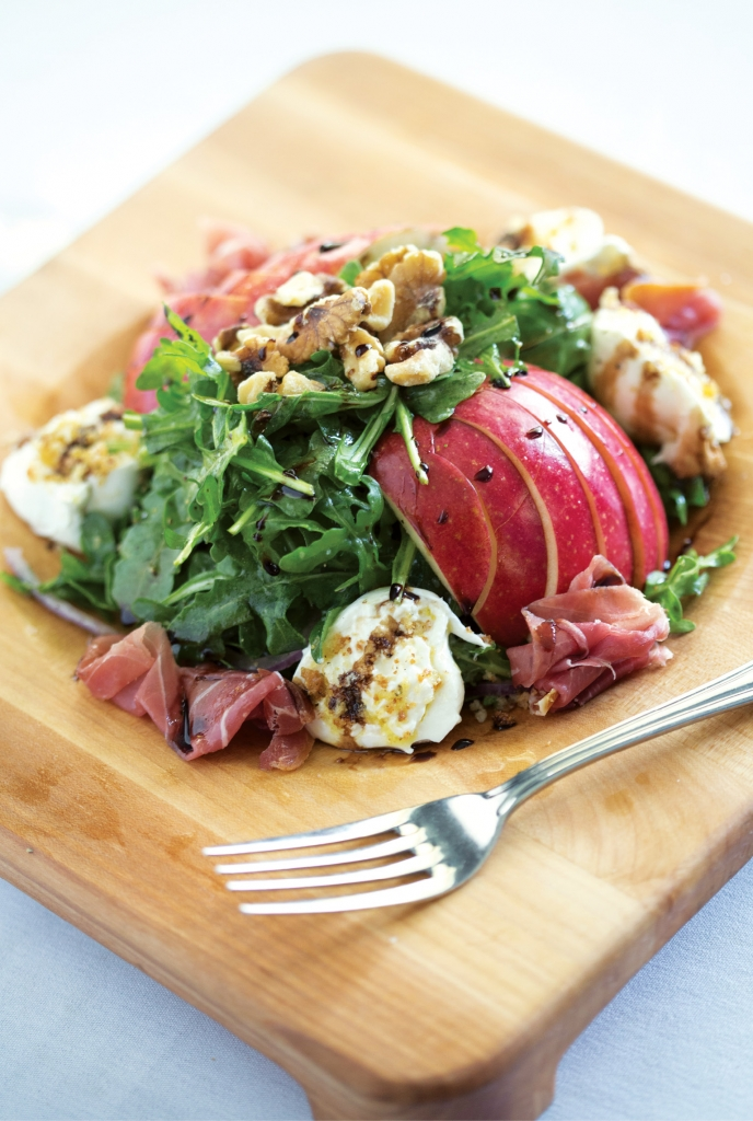 Start with Art: Apps like the Burrata with apples, walnuts and prosciutto are like love at first sight (and bite).