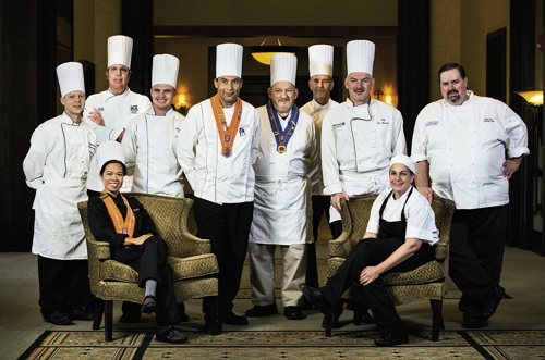 Chefs Extraordinaire: Standing left to right: Andrew Gardo (Sea Captain's House), Megian Cinari (Waterscapes at Marina Inn), Julien Lancrerot (Waterscapes at Marina Inn), Martin Dobr (Martin's Restaurant), Mike McKinnon (The Cypress Room at Island Vista Resort), Eric Masson (The Brentwood Restaurant & Wine Bistro), Joseph Bonaparte (Horry-Georgetown Technical College) and  James Clark (The Carolina Inn). Seated left to right: Sokun Slama (New Southern Kitchen) and Tina Spaltro (Dunes Golf and Beach Club).