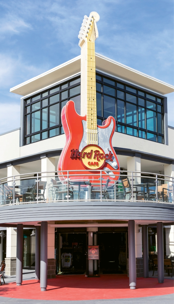 Put A Spin On It: Looking for the new Hard Rock Cafe? It's easy. Just look upwards for the bright red spinning guitar. You're there!