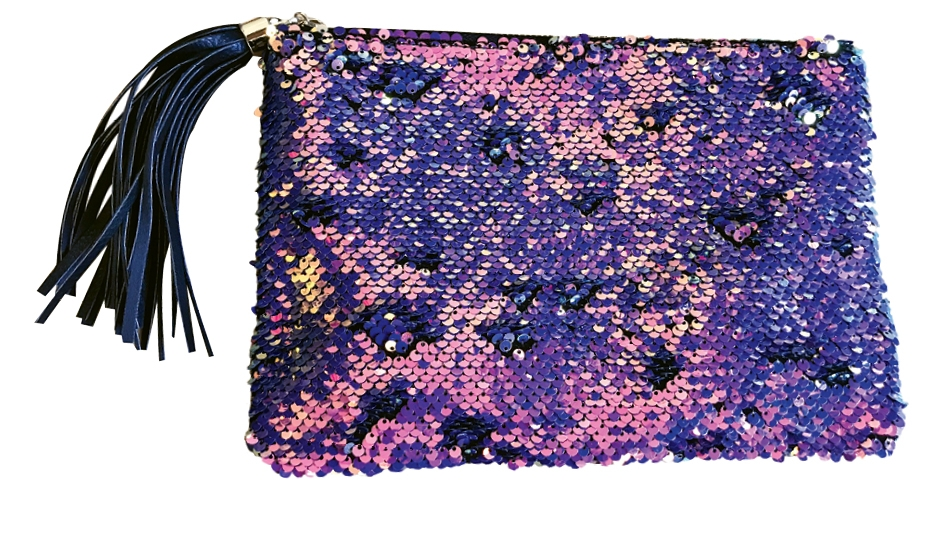 He Had a Great Purse-onality Show up and show off with this sequin and tassel clutch. $40. A Unique Boutique