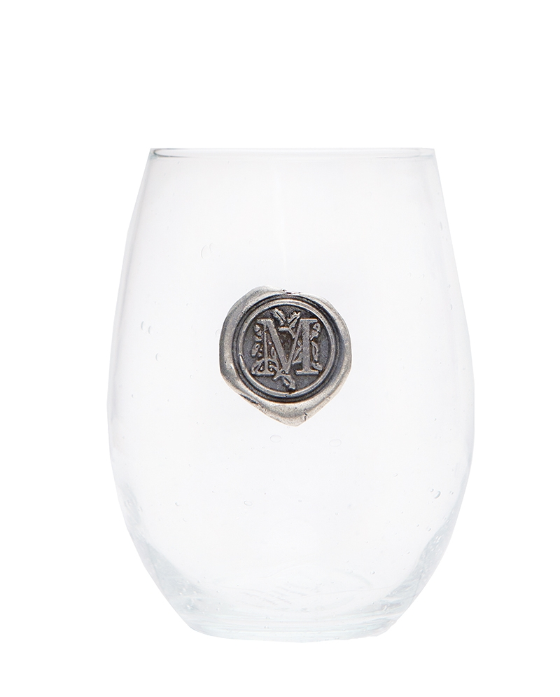 STUNNINgly Stemless  Personalize your drink with this hand-made bubbled drinking vessel, sealed with a pewter letter of your choice.  $17. Encore, 225 Kingston St., Conway. (843) 488-4086
