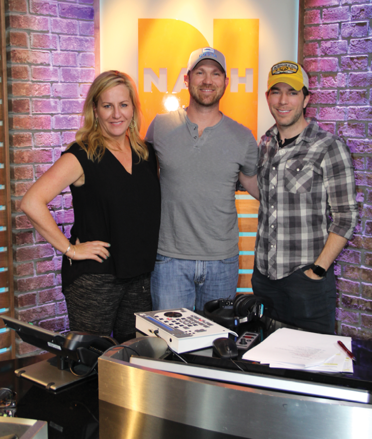 Rice (center) pictured with Kelly Ford and Ty Bentli from the nationally syndicated NASH FM Morning show Ty, Kelly and Chuck.