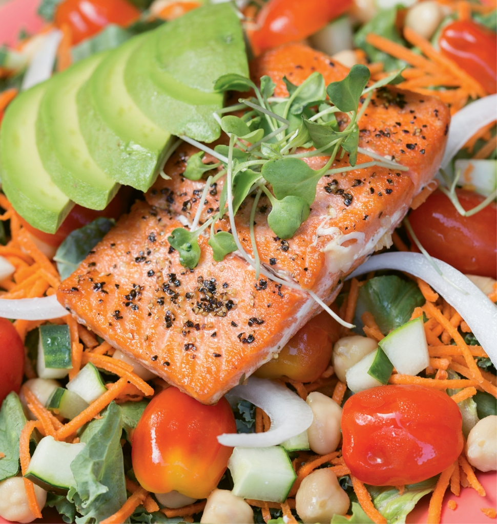 Kindbelly's Naked Goddess Salad with wild caught sockeye salmon