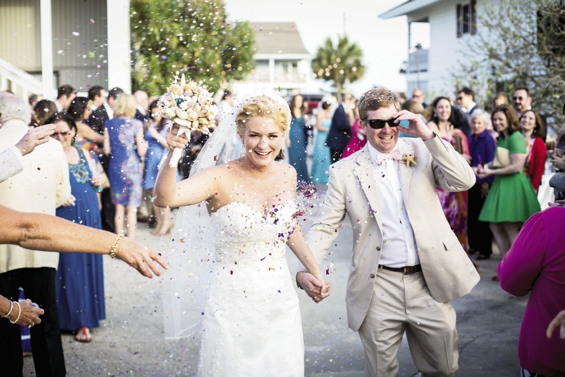 As the couple entered the reception, they were greeted with confetti.