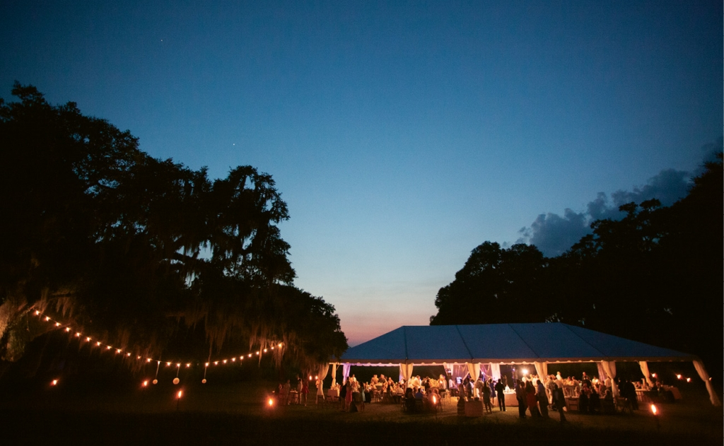 "Tears and Twilight: Shannon described the rain that postponed her ceremony as ""tears of joy,"" and when the skies cleared, the outdoor celebration was stunning."