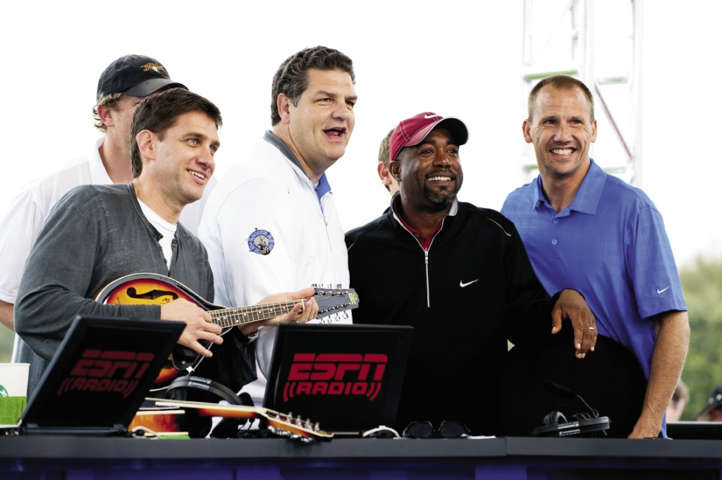 "ESPN's ""Mike & Mike"" broadcast its show live from Monday After the Masters, with Hootie band members as guests."
