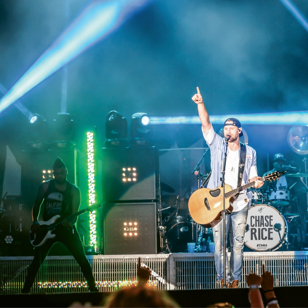 Chase Rice works the crowd at the 2016 Carolina Contry Music Fest.