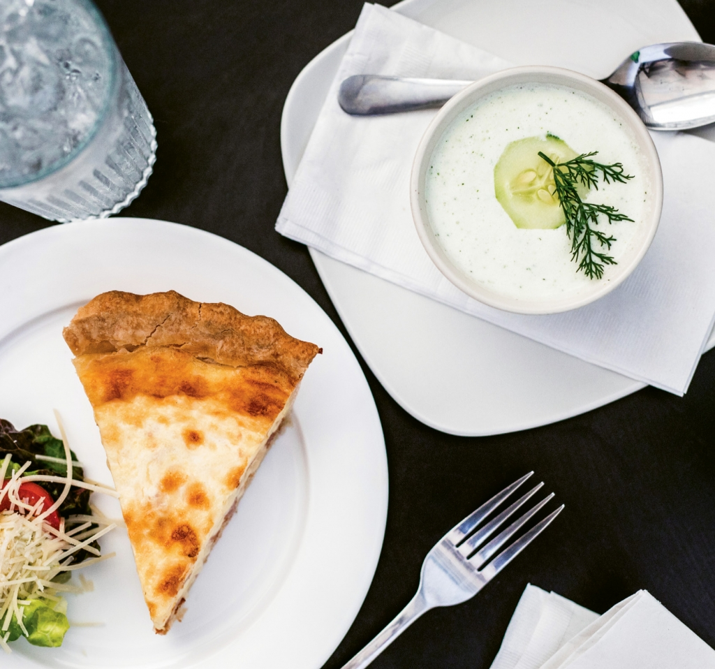 Cool Customers: What could be more refreshing than a cold cucumber soup with a slice of quiche and salad?