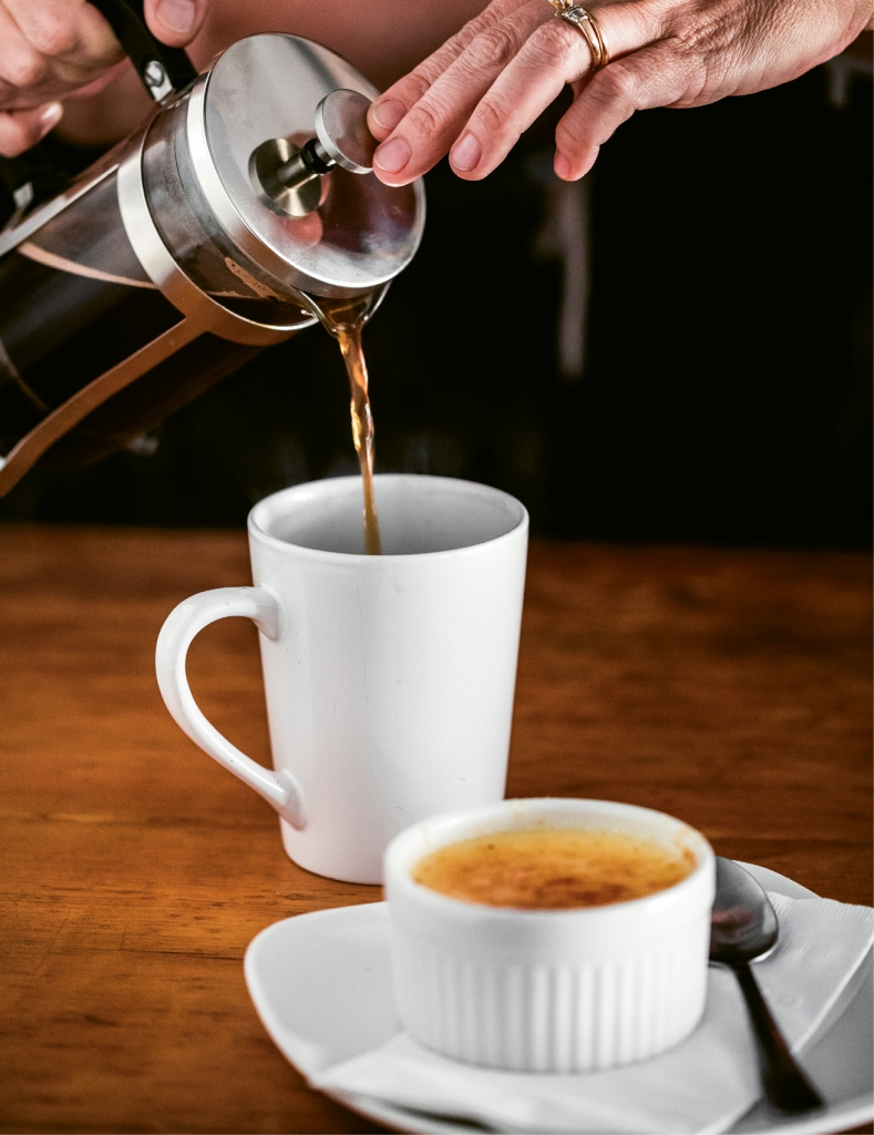 What Will It Be, Coffee or Tea?: Yes, you can have French press coffee or indulge in gourmet teas by the pot, the cup or on ice.