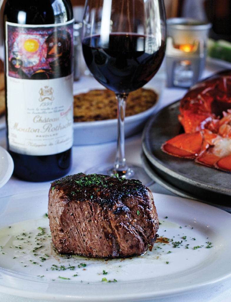 "All of the steaks served at New York Prime are aged 28 days and prepared ""Pittsburgh style"" with a charred exterior."