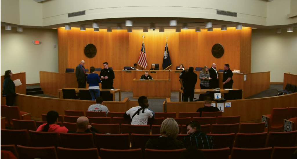 Night court is held in the main courtroom at the Ted Collins Law Enforcement Center, a room that does double-duty as Myrtle Beach City Council chamber.