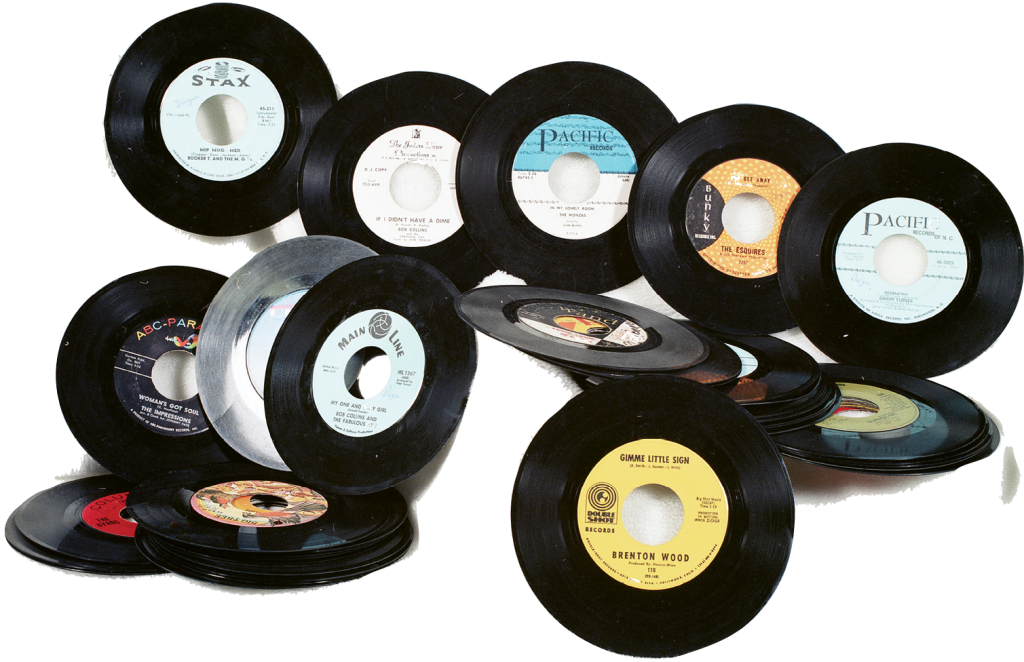 Georgetown resident Paige Sawyer photographed these 45s, which were rotated off of the pavilion jukebox right before the pavilion burned in 1970.