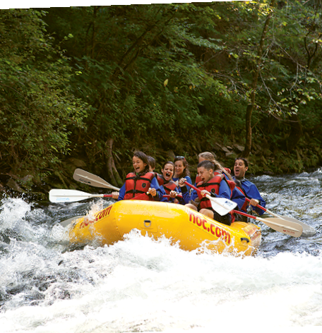 Rent a raft and take on the white water rapids of the Nantahala River.