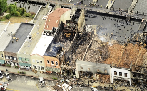 The 700 block of Front Street remains nearly unchanged one year after the devastating fire.