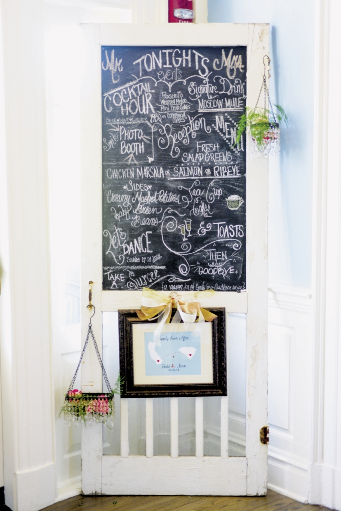 Jennifer's aunt helped with decor, including this chalkboard door design that listed the evening's events.