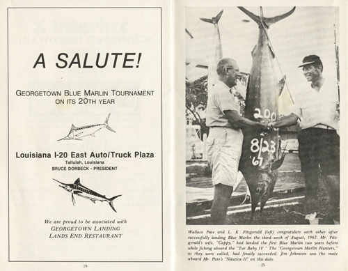 The program from the 20th annual Georgetown Blue Marlin tournament in 1987 includes this 1967 photo of Dinks Fitzgerald and Wallace Pate with Pate's 200-pound blue marlin.
