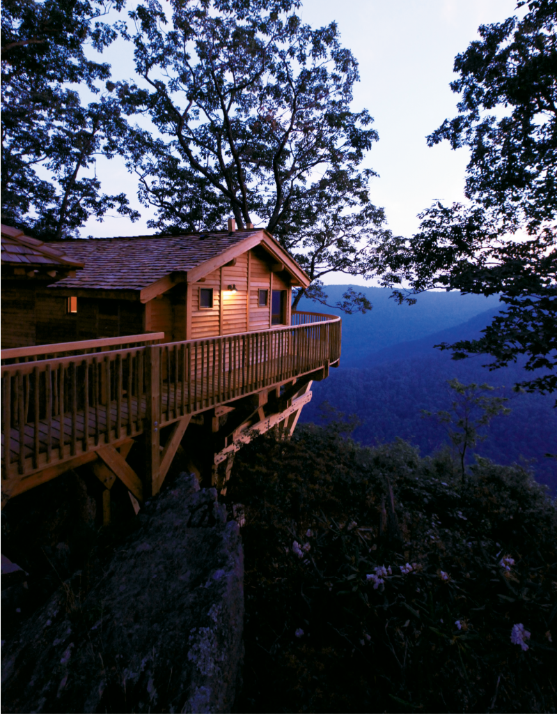 Among the accommodation options are three intimate house cabins that are built around big, solid branches and hang out over the Kibler Valley.